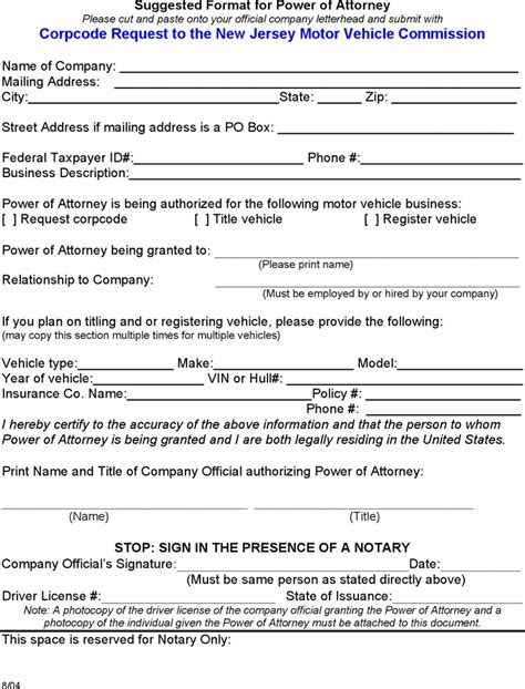 Free New Jersey Motor Vehicle Power Of Attorney Form Pdf 90kb 1 Page S Power Of Attorney Template Nj