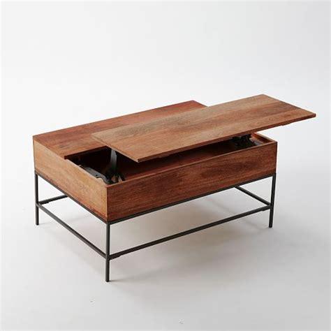 Coffee Table Desk Industrial Storage Coffee Table West Elm