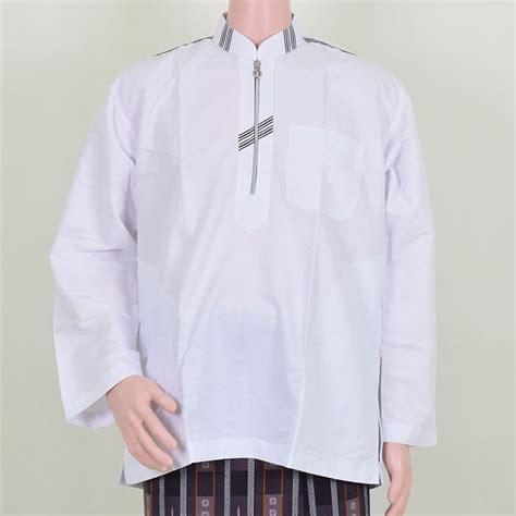 Baju Kerja Satin Pria Putih jual baju koko pria putih resleting sederhana baju muslim allebas pas mantab