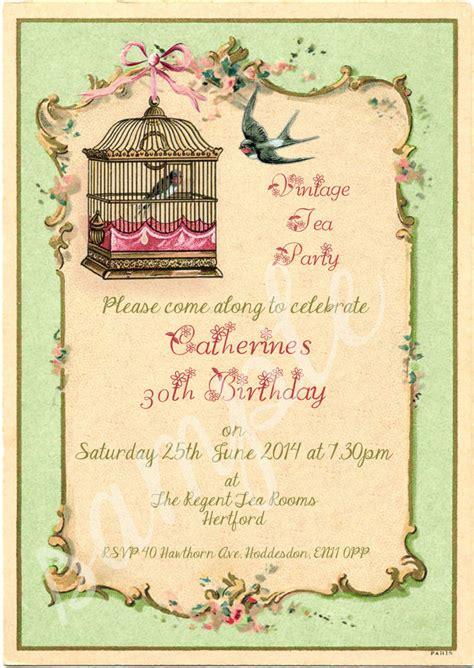 shabby chic invites any age shabby chic vintage tea birdcage birthday invitations packs of 10 ebay