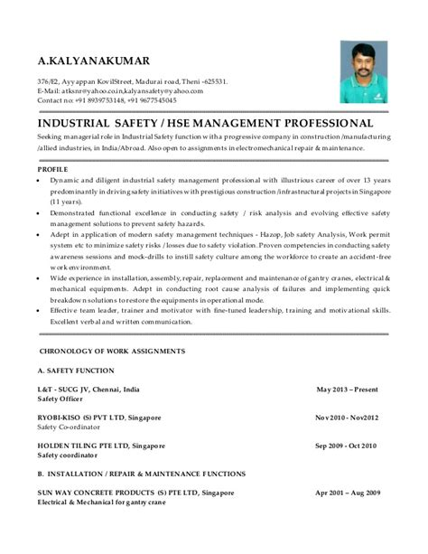 construction safety officer resume exles
