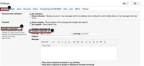 Out Of Office Gmail by Quot Out Of Office Quot Reply In Gmail Oklahoma Christian