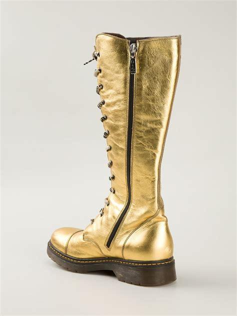 dolce and gabbana boots dolce gabbana d g junior boots in gold metallic lyst
