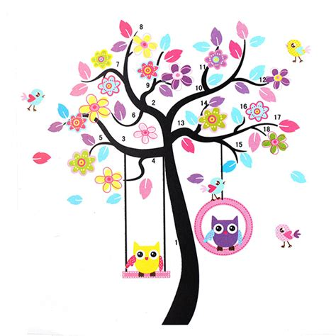 owl swing owls on the swing colourful tree pvc removable wallpaper