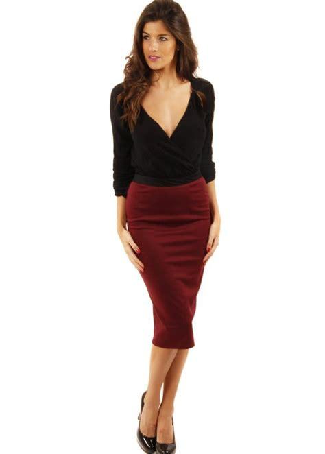 ox blood pencil skirt burgundy pencil skirt designer