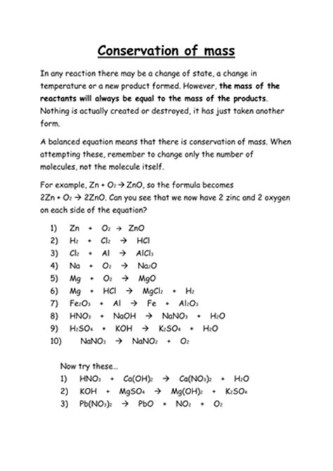 Conservation Of Mass Worksheet Answers conservation of mass worksheet lesupercoin printables worksheets
