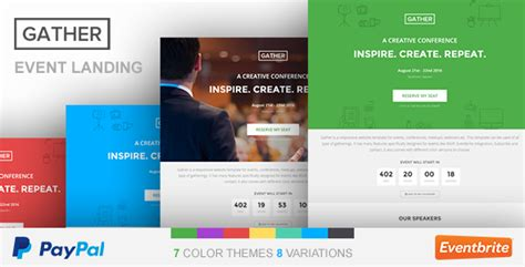 event landing page template gather by surjithctly
