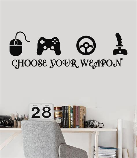 game room wall decor ideas joystick gamer vinyl wall decal quote video game play room