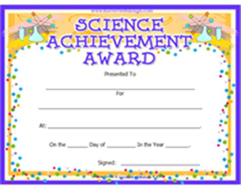 science award certificate template search results for science fair participation certificate