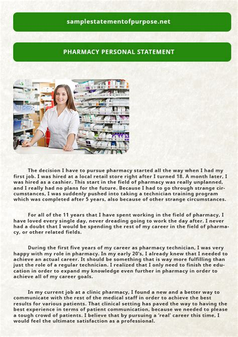 pharmacy type of personal statement exle