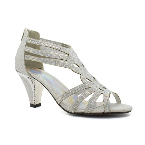 Low Bridal Shoes by New Womens Diamante Low Kitten Heel Sandals Bridal