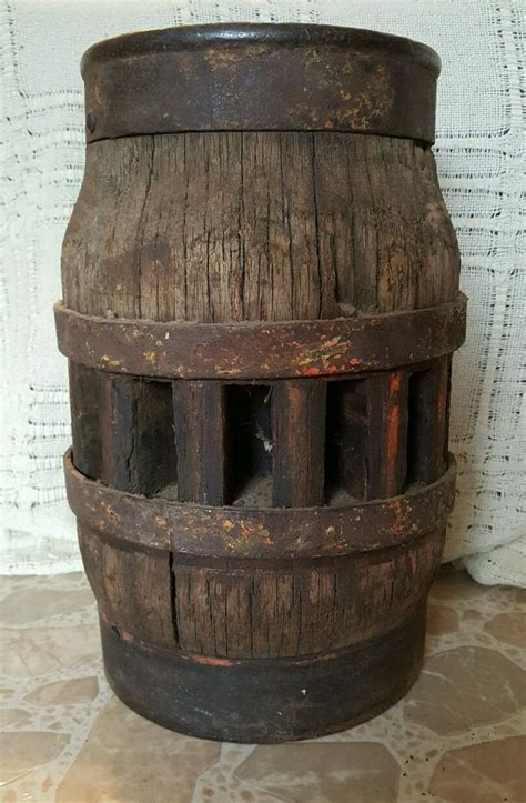 authentic antique  wood wagon wheel hub iron band