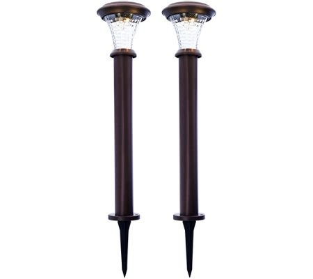solar landscape lighting qvc paradise set of 2 rotating solar bollard path lights qvc