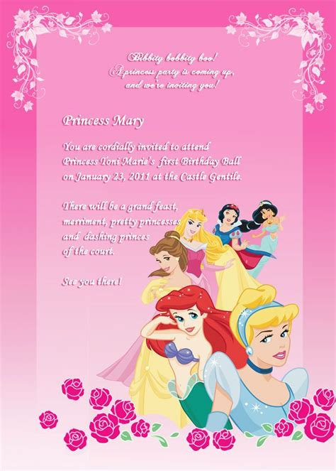 princess invites free templates princess invites free templates sle business