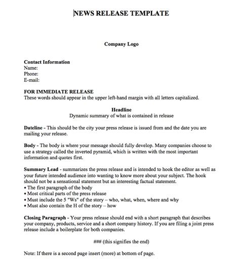 press release template breakintopr relations internships