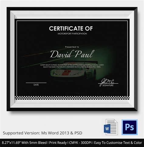 motorsport templates 5 motosport certificates psd word designs design