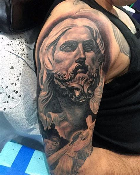 jesus tattoo half sleeve 38 best crazy jesus tattoos images on pinterest jesus