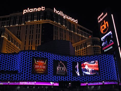 planet hollywood front subdued lighting at the front of the casino planet