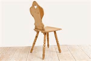 pine tyrolean chair with carved back and turned legs