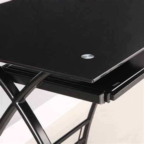 Black Glass Computer Desks Glass Metal Black Corner Computer Desk Kitchen Dining