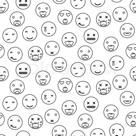 But Draw Happy Faces On Them D Some Other - outline smile emoji seamless pattern emoticon icon