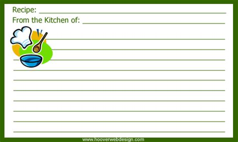 page from the kitchen of recipe card template printable chef hat recipe cards