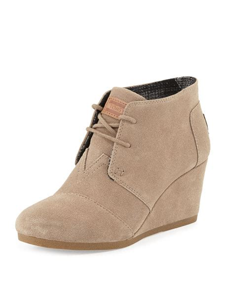 toms suede lace up wedge boot taupe