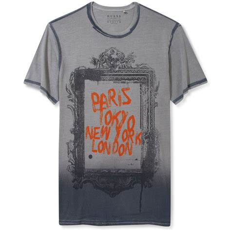 t shirt guess rock 1 guess shirt city frame graphic tshirt in gray for lyst