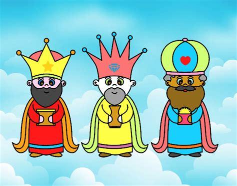 imagenes reyes magos caricatura dibujo de los 3 reyes magos pintado por en dibujos net el