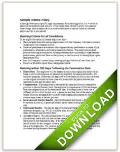 Policy Template Exles sle policy