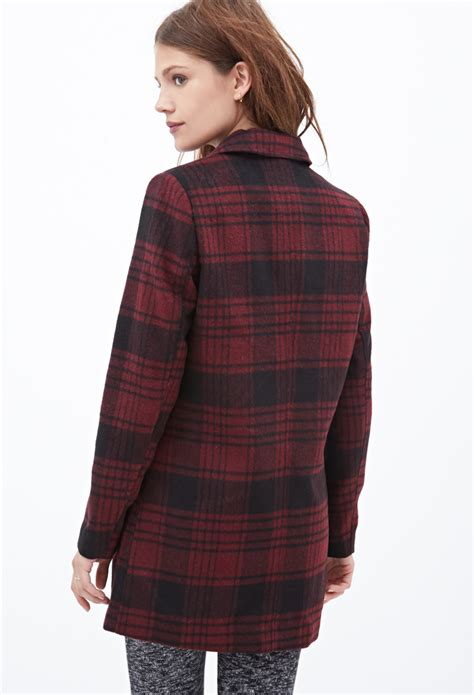 Plaid Coat by Forever 21 Plaid Pea Coat In Purple Lyst