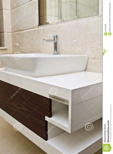 modern bathroom sink cabinet modern white bathroom sink and cabinet stock photo image