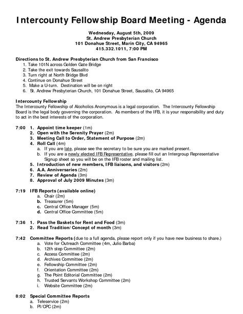church minutes template search results for sle board meeting agenda