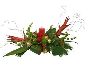 Modern christmas centerpiece with tropical flowers