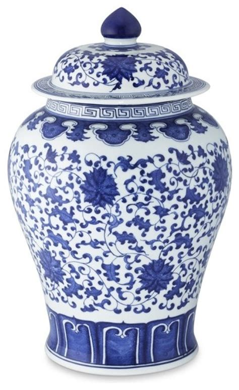 jar ginger blue white ginger jar lidded urn asian home decor