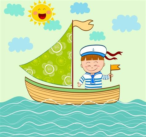 cartoon boat on the sea sea free vector download 1 538 free vector for