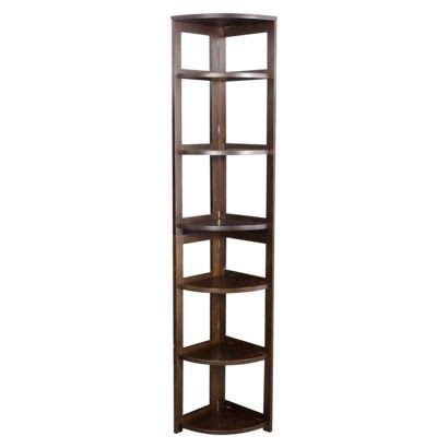 Folding Corner Bookcase 6 Shelf Flip Flop Folding Corner Bookcase Mocha Walnut