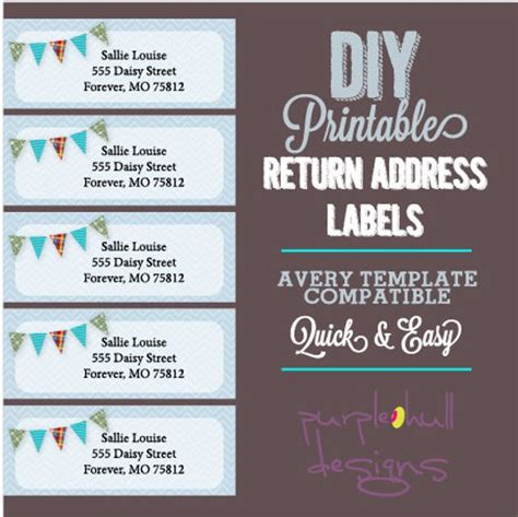 Pennant Banner Bunting Return Address Labels Avery Template Pages Return Address Label Template