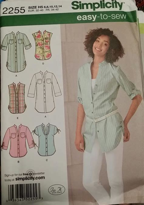 pattern review simplicity 2255 simplicity pattern 2255 ladies tunic or shirt with sleeve