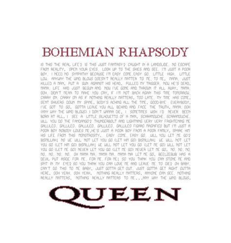 pattern lyrics bohemian rhapsody lyrics pattern queen song cross stitch