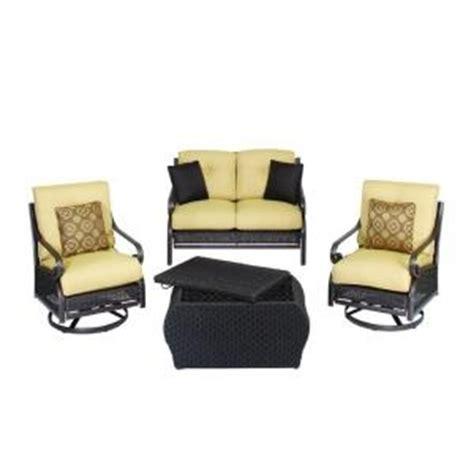 martha stewart cedar island patio furniture martha stewart living cedar island 4 brown all weather wicker patio seating set with beige