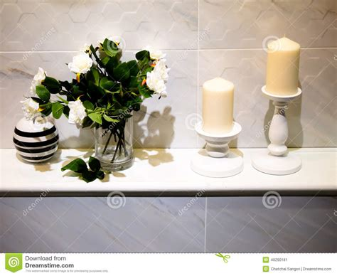 Decoration Design Bathroom Decor Stock Image Image Of Candle