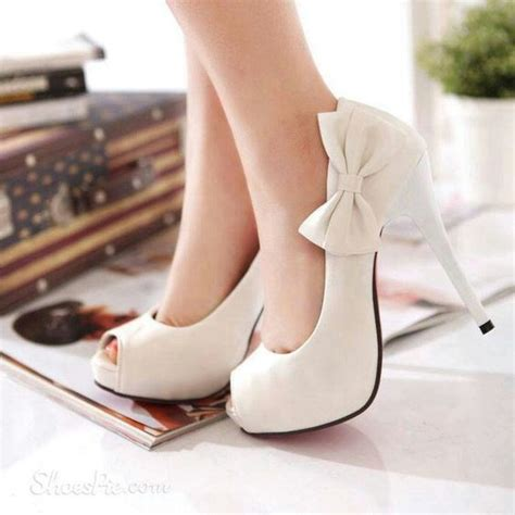 white high heels with bow white heels with bow qu heel
