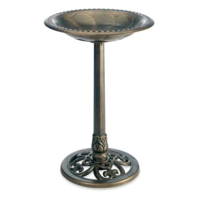 buy metal bird bath with decorative scrolling from bed