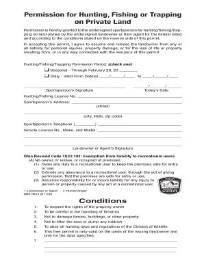 Permission Letter To Hunt On Property Ohio Permission Slip Fill Printable Fillable Blank Pdffiller