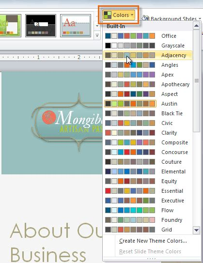 changing themes powerpoint 2010 powerpoint 2010 modifying themes full page