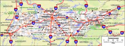 road map of tennessee and tennessee map