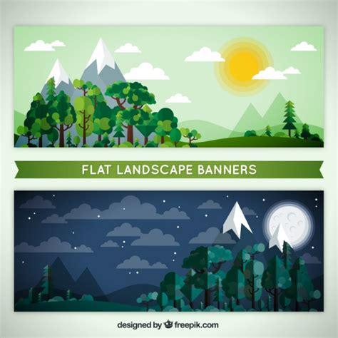 design banner landscape nighttime and daytime landscape banners in flat design