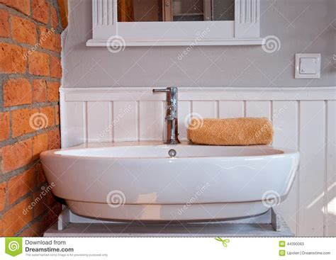 Kitchen Wall Faucet white grey bathroom with sink stock photo image 44390063