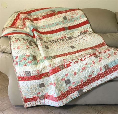 Quilted Sofa Throw by Jelly Roll Race Throw Quilt Quilted Cottage Chic Sofa
